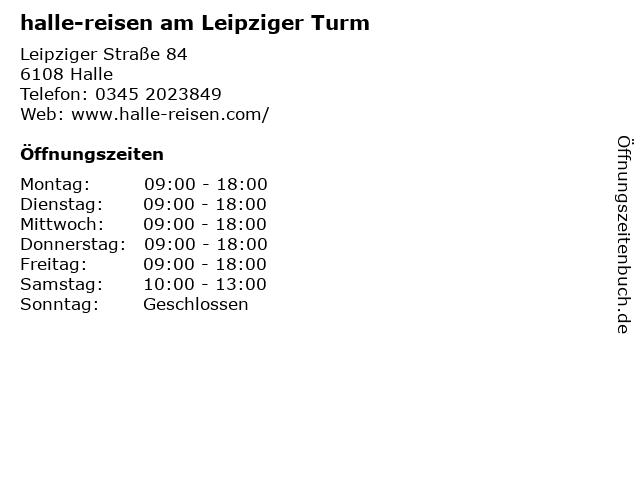halle-reisen am Leipziger Turm in Halle: Adresse und Öffnungszeiten