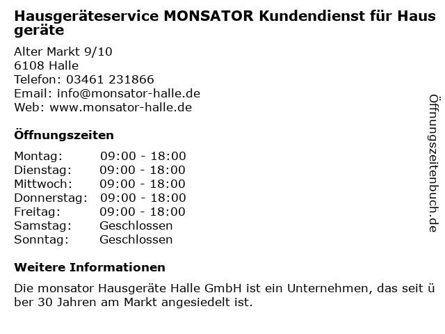monsator Hausgeräte Halle GmbH in Halle: Adresse und Öffnungszeiten