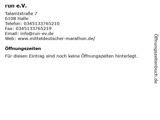 run e.V. in Halle: Adresse und Öffnungszeiten