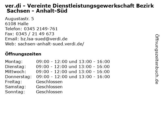 ver.di - Vereinte Dienstleistungsgewerkschaft Bezirk Sachsen - Anhalt-Süd in Halle: Adresse und Öffnungszeiten