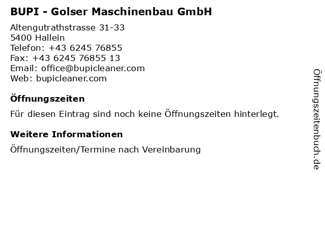 BUPI - Golser Maschinenbau GmbH in Hallein: Adresse und Öffnungszeiten