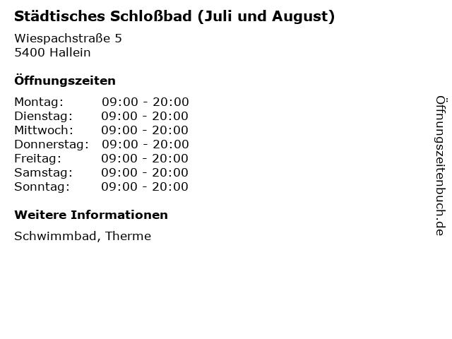 Städtisches Schloßbad (Juli und August) in Hallein: Adresse und Öffnungszeiten