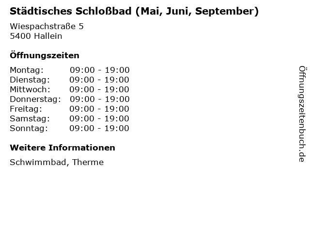 Städtisches Schloßbad (Mai, Juni, September) in Hallein: Adresse und Öffnungszeiten