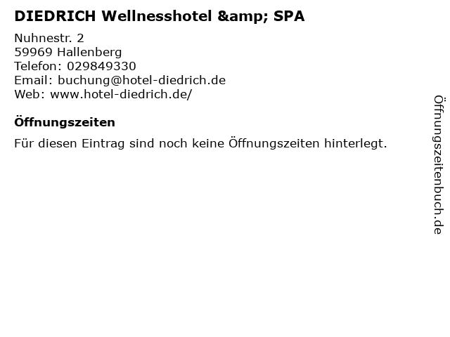 Diedrich in Hallenberg: Adresse und Öffnungszeiten