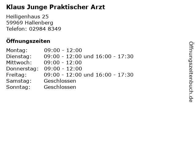Klaus Junge Praktischer Arzt in Hallenberg: Adresse und Öffnungszeiten