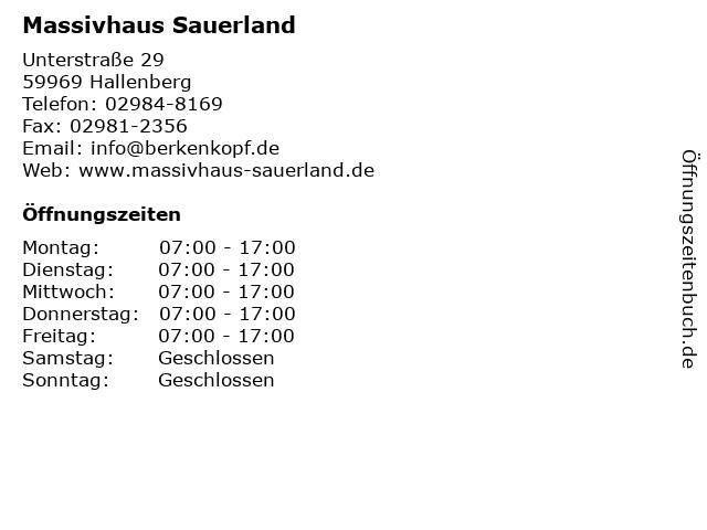 Massivhaus Sauerland in Hallenberg: Adresse und Öffnungszeiten