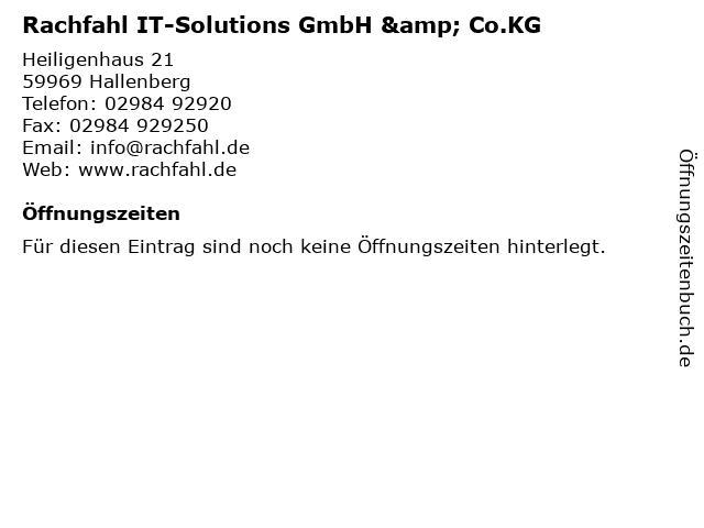 Rachfahl IT-Solutions GmbH & Co.KG in Hallenberg: Adresse und Öffnungszeiten