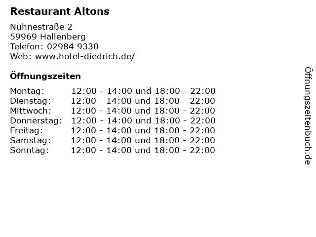 Restaurant Altons in Hallenberg: Adresse und Öffnungszeiten
