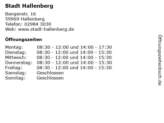 Stadt Hallenberg in Hallenberg: Adresse und Öffnungszeiten