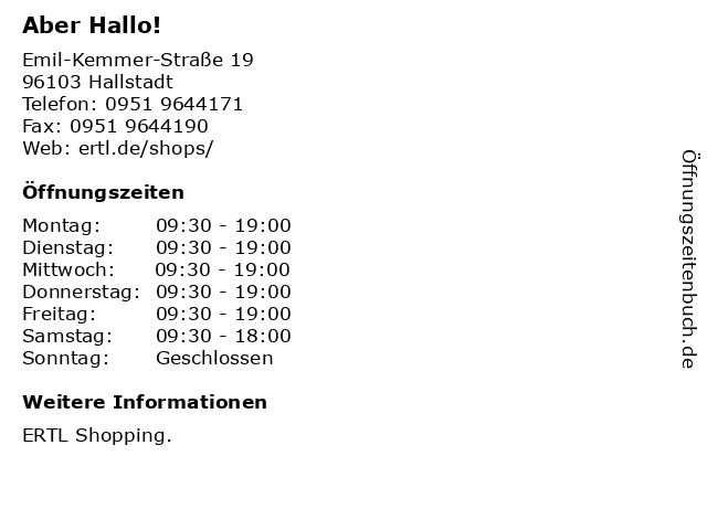 Aber Hallo! in Hallstadt: Adresse und Öffnungszeiten