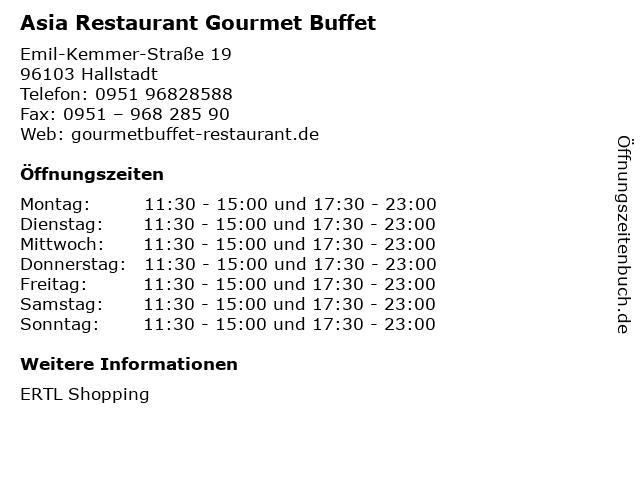 Asia Restaurant Gourmet Buffet in Hallstadt: Adresse und Öffnungszeiten