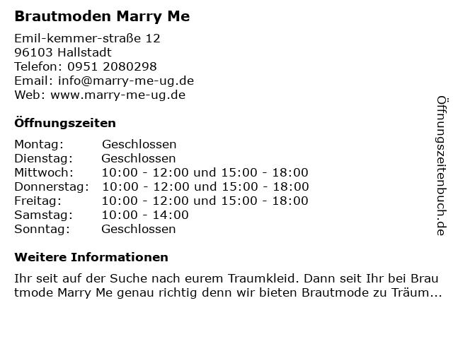 Brautmode Marry Me! in Hallstadt: Adresse und Öffnungszeiten