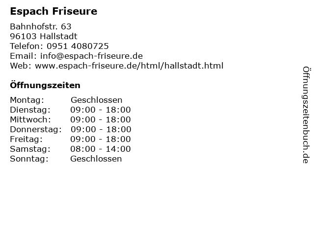 Espach Friseure in Hallstadt: Adresse und Öffnungszeiten