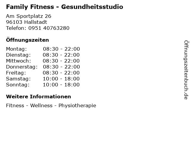 Family Fitness - Gesundheitsstudio in Hallstadt: Adresse und Öffnungszeiten