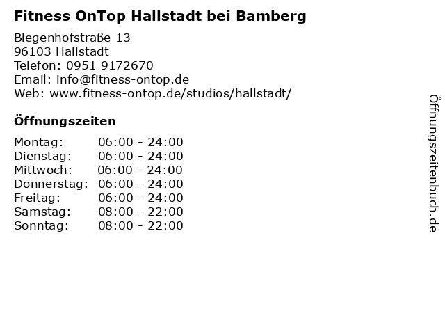 Fitness OnTop Hallstadt bei Bamberg in Hallstadt: Adresse und Öffnungszeiten
