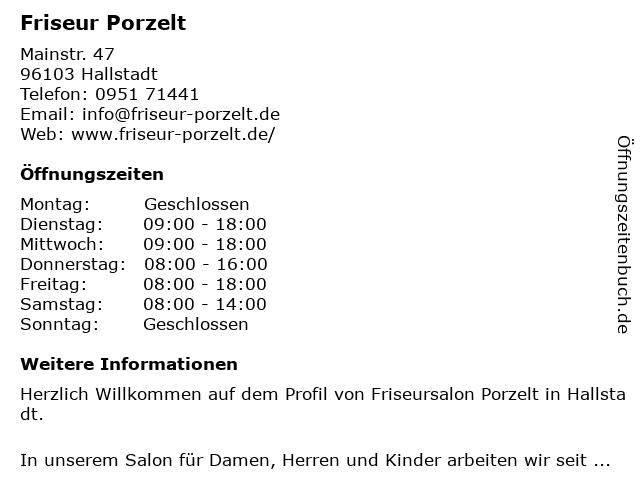 Friseur Porzelt in Hallstadt: Adresse und Öffnungszeiten