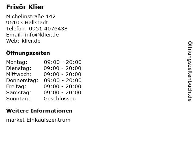 Frisör Klier in Hallstadt: Adresse und Öffnungszeiten