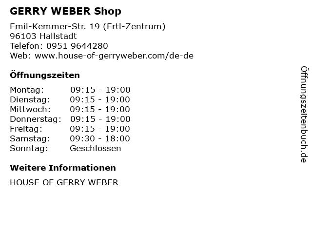 GERRY WEBER Shop in Hallstadt: Adresse und Öffnungszeiten