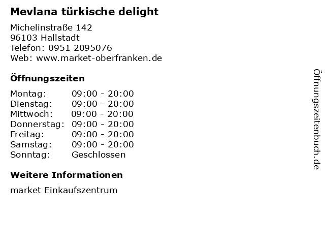 Mevlana türkische delight in Hallstadt: Adresse und Öffnungszeiten