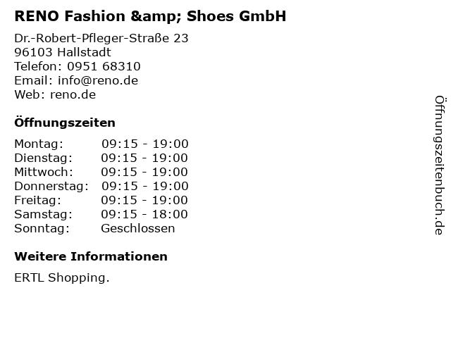 RENO Fashion & Shoes GmbH in Hallstadt: Adresse und Öffnungszeiten