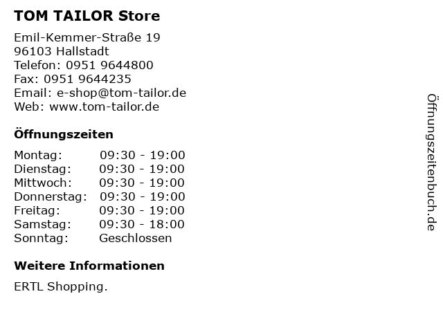 TOM TAILOR Store in Hallstadt: Adresse und Öffnungszeiten