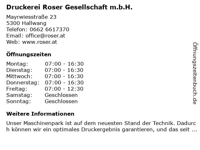 Druckerei Roser Gesellschaft m.b.H. in Hallwang: Adresse und Öffnungszeiten