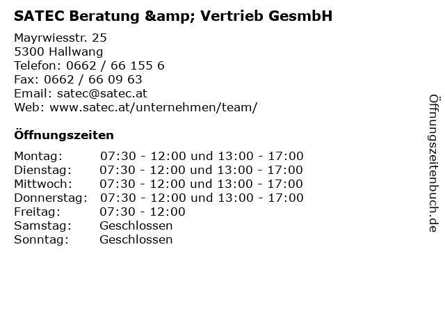 SATEC Beratung & Vertrieb GesmbH in Hallwang: Adresse und Öffnungszeiten