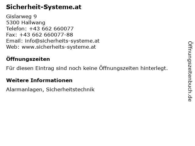 Sicherheit-Systeme.at in Hallwang: Adresse und Öffnungszeiten