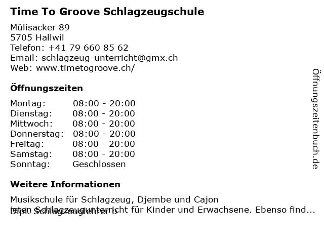 Time To Groove Schlagzeugschule in Hallwil: Adresse und Öffnungszeiten
