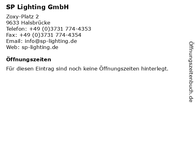 SP Lighting GmbH in Halsbrücke: Adresse und Öffnungszeiten