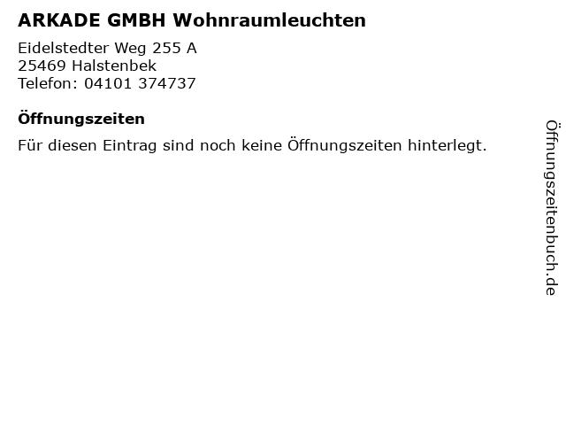 ARKADE GMBH Wohnraumleuchten in Halstenbek: Adresse und Öffnungszeiten