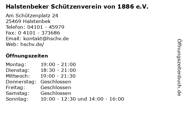 ᐅ Offnungszeiten Halstenbeker Schutzenverein Von 1886 E V Am