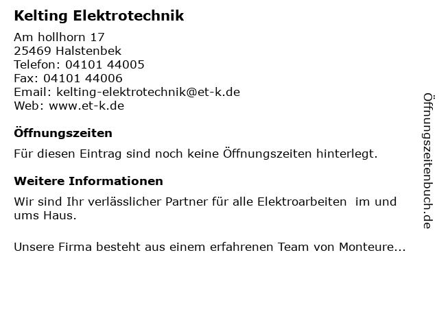 Kelting Elektrotechnik, Olaf Kelting in Halstenbek: Adresse und Öffnungszeiten