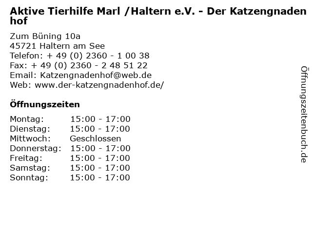 Aktive Tierhilfe Marl/Haltern e.V. in Haltern am See: Adresse und Öffnungszeiten