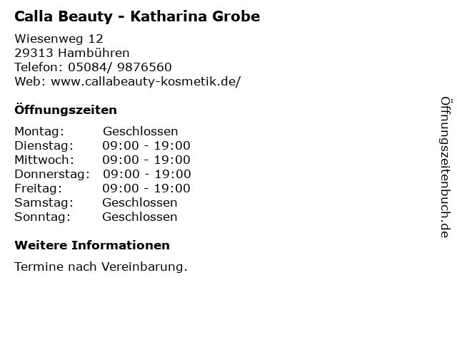 Calla Beauty - Katharina Grobe in Hambühren: Adresse und Öffnungszeiten
