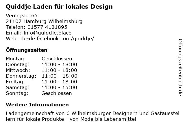 Quiddje Laden für lokales Design in Hamburg Wilhelmsburg: Adresse und Öffnungszeiten