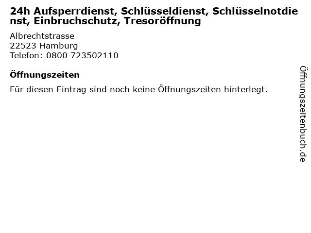 24h Aufsperrdienst, Schlüsseldienst, Schlüsselnotdienst, Einbruchschutz, Tresoröffnung in Hamburg: Adresse und Öffnungszeiten