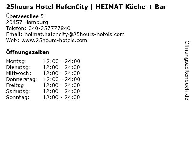 25hours Hotel HafenCity | HEIMAT Küche + Bar in Hamburg: Adresse und Öffnungszeiten