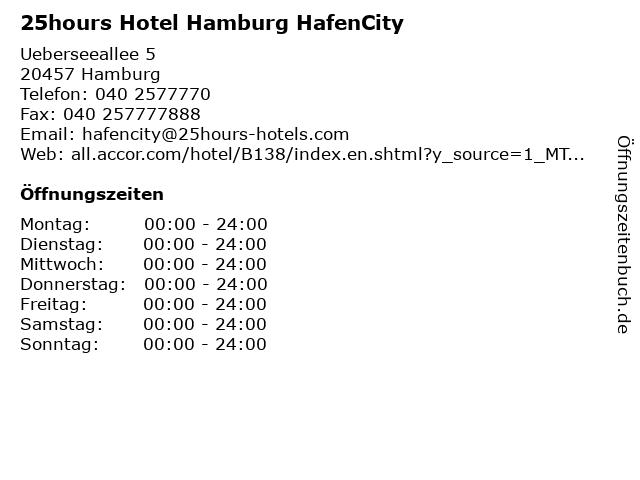 25hours Hotel HafenCity in Hamburg: Adresse und Öffnungszeiten