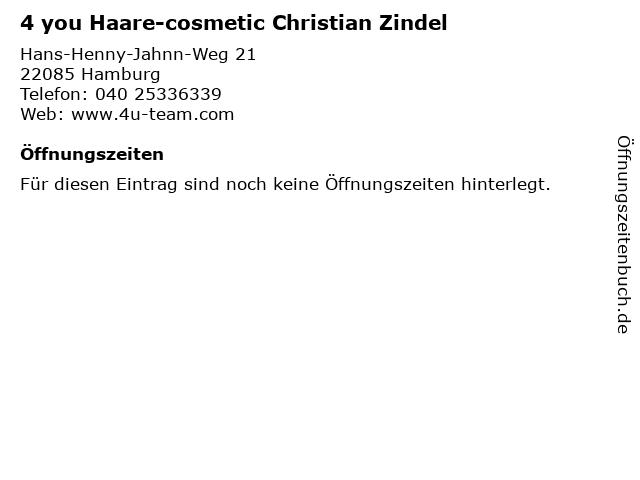4 you Haare-cosmetic Christian Zindel in Hamburg: Adresse und Öffnungszeiten