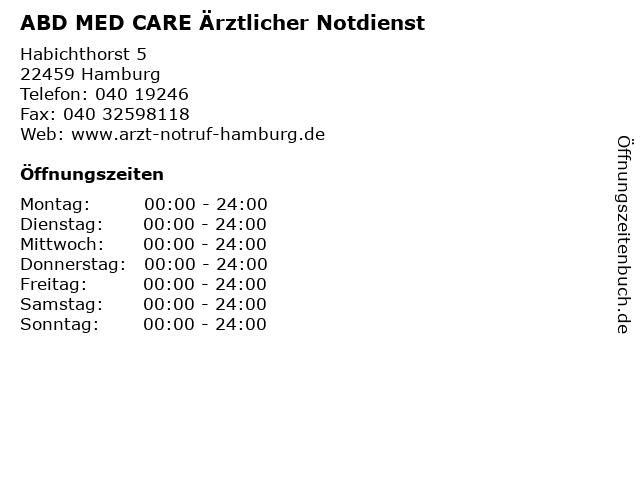 ABD MED CARE Ärztlicher Notdienst in Hamburg: Adresse und Öffnungszeiten