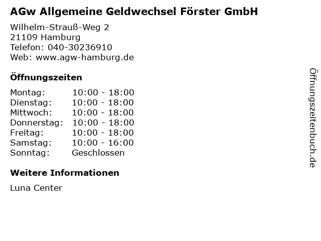AGw Allgemeine Geldwechsel Förster GmbH in Hamburg: Adresse und Öffnungszeiten