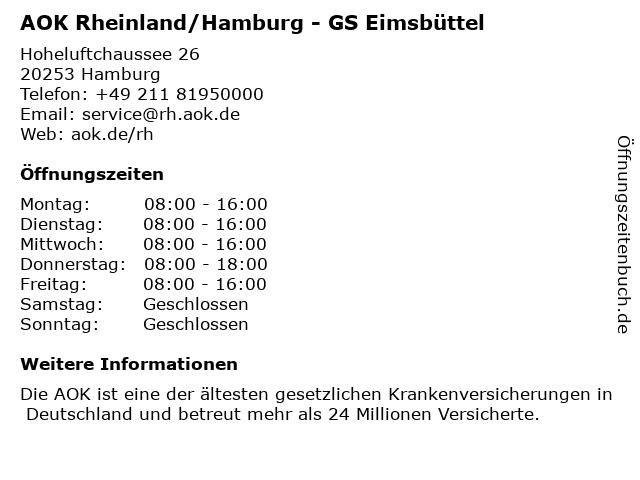 """ᐅ Öffnungszeiten """"AOK Rheinland/Hamburg - GS Eimsbüttel ..."""