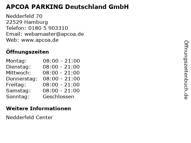 APCOA PARKING Deutschland GmbH in Hamburg: Adresse und Öffnungszeiten