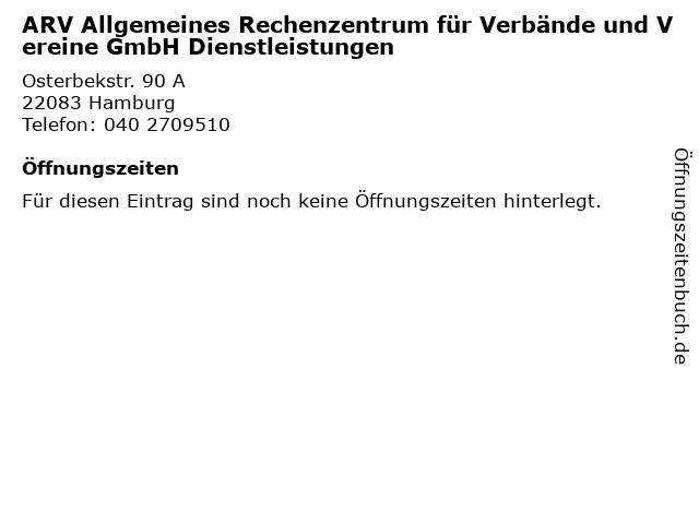 ARV Allgemeines Rechenzentrum für Verbände und Vereine GmbH Dienstleistungen in Hamburg: Adresse und Öffnungszeiten