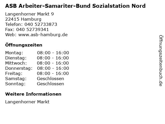ASB Arbeiter-Samariter-Bund Sozialstation Nord in Hamburg: Adresse und Öffnungszeiten