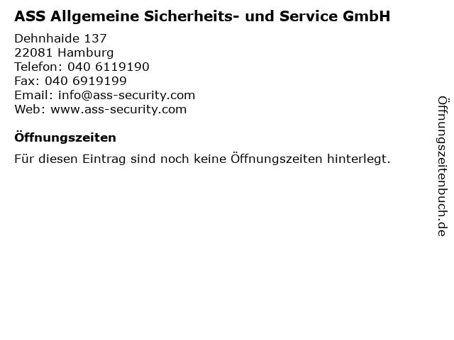 ASS Allgemeine Sicherheits- und Service GmbH in Hamburg: Adresse und Öffnungszeiten