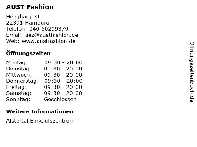 AUST Fashion in Hamburg: Adresse und Öffnungszeiten
