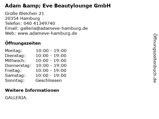 Adam & Eve Beautylounge GmbH in Hamburg: Adresse und Öffnungszeiten
