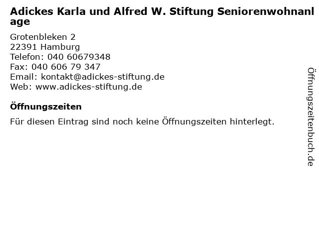 Adickes Karla und Alfred W. Stiftung Seniorenwohnanlage in Hamburg: Adresse und Öffnungszeiten
